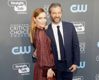 Leslie Mann and Judd Apatow. At the 23rd Annual Critics` Choice Awards held at the Barker Hangar in Santa Monica, USA on January 11, 2018 Royalty Free Stock Photo