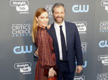 Leslie Mann and Judd Apatow. At the 23rd Annual Critics` Choice Awards held at the Barker Hangar in Santa Monica, USA on January 11, 2018 royalty free stock image