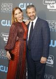 Leslie Mann and Judd Apatow. At the 23rd Annual Critics` Choice Awards held at the Barker Hangar in Santa Monica, USA on January 11, 2018 royalty free stock photography