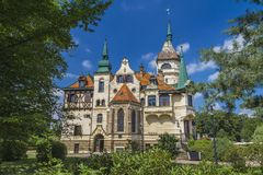 Lesna Castle in Czech Republic. ZLIN, CZECH REPUBLIC - AUGUST 14, 2017: Lesna Castle is one of the youngest castles in the Czech Republic, built in the late 19th Royalty Free Stock Image