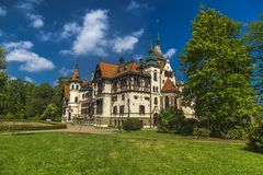 Lesna Castle in the Czech Republic. Lesna Castle is one of the youngest castles in the Czech Republic, built in the late 19th century Royalty Free Stock Image