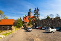 Lesna, Poland - April 20, 2019: Beautiful Czocha Castle at sunny day in Lesna, Lower Silesian Voivodeship. Poland stock images