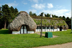 Lesoe Farmhouse. Old farmhouse with a special roof made of seaweed Royalty Free Stock Image