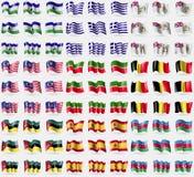 Lesothe, Greece, British Antarctic Territory, Malaysia, Tatarstan, Belgium, Mozambique, Spain, Azerbaijan. Big set of 81 flags. Royalty Free Stock Photo