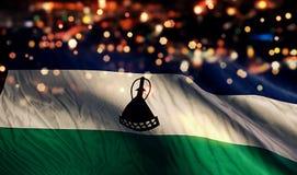 Lesothisk för Bokeh för nationsflaggaljusnatt bakgrund abstrakt begrepp Royaltyfria Bilder