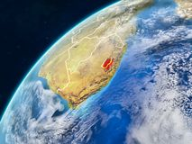 Lesotho on Earth with borders. Lesotho on realistic model of planet Earth with country borders and very detailed planet surface and clouds. 3D illustration stock photo