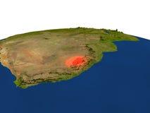 Lesotho en rojo de la órbita stock de ilustración