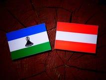 Lesotho flag with Austrian flag on a tree stump  Stock Photos