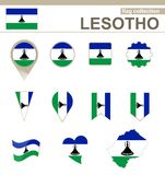 Lesotho Flag Collection. 12 versions stock illustration