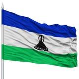 Lesotho Flag on Flagpole Stock Photos