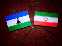 Lesotho flag with Iranian flag on a tree stump isolated. Lesotho flag with Iranian flag on a tree stump Stock Photography