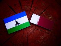Lesotho flag with Qatari flag on a tree stump isolated Stock Photo