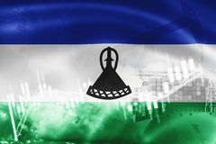 Lesotho flag, stock market, exchange economy and Trade, oil production, container ship in export and import business and logistics. South, southern, africa royalty free illustration