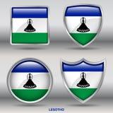 Lesotho flaga w 4 kształtach inkasowych z ścinek ścieżką Fotografia Royalty Free