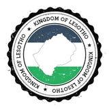 Lesotho flaga w rocznik pieczątce i mapa Zdjęcia Royalty Free