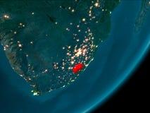 Lesotho från utrymme på natten Arkivbild
