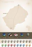 Lesotho. Kingdom of Lesotho and Africa maps, plus extra set of isometric icons & cartography symbols set (part of the World Maps Set Stock Photo