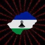 Lesotho mapy flaga na czerwonej hex kodu wybuchu ilustraci Zdjęcie Stock