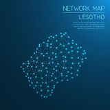 Lesotho network map. Stock Image