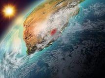 Lesotho op aarde in zonsondergang Royalty-vrije Stock Afbeelding