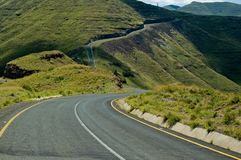 Lesotho Road Mapholaneng. Winding mountain road descends from above 3000m above msl Royalty Free Stock Image