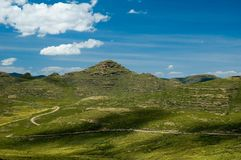 Lesotho Roads 7. A winding road in the high central range near Semongkong in Lesotho Stock Photos