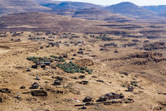 Lesotho Village From Above. View from above a village in rural Leribe on a dry winter afternoon in the mountain kingdom of Lesotho Royalty Free Stock Photo