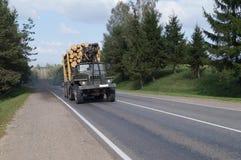 Lesovoz bilklättringar den branta löneförhöjningen i huvudvägen Arkivfoton