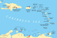 Lesser Antilles political map Stock Photography