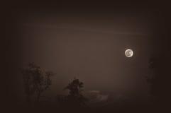 The Lesser Light. Full moon rising sepia toned Royalty Free Stock Photos