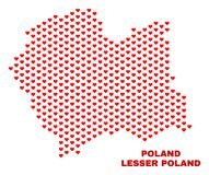 Lesser Poland Voivodeship Map - Mosaic of Heart Hearts. Mosaic Lesser Poland Voivodeship map of valentine hearts in red color isolated on a white background stock illustration