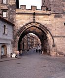 Lesser Quarter Bridge Arch, Prague. Stock Photo