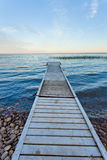 Lesser Slave Lake landscape with dock Alberta Canada Stock Photo