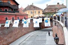 Lesser Square Sibiu durante il festival internazionale del teatro Romania 2013 Fotografia Stock