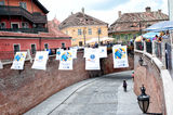 Lesser Square Sibiu during the International Theatre Festival 2013 Romania Stock Photo