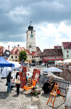 Lesser Square Sibiu during the International Theatre Festival 2013 Romania Royalty Free Stock Image