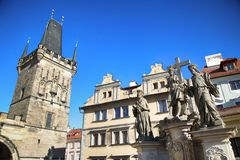 Lesser Town Bridge Tower, Praga, repubblica Ceca fotografie stock libere da diritti