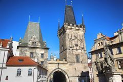 Lesser Town Bridge Tower, Praga, repubblica Ceca fotografia stock libera da diritti