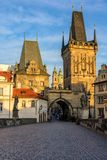Lesser Town Bridge Towers on Charles Bridge in Prague, Czech Republic Stock Images