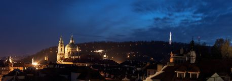 Lesser Town di Praga dopo buio Fotografia Stock Libera da Diritti