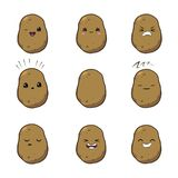 Vector illustration of an potatoes Cute cartoon vegetable vector character set isolated on white. Emotions. Stickers. kawaii royalty free illustration