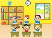 Lesson activities school children in classroom. Vector illustration of lesson activities school children in classroom Stock Photography