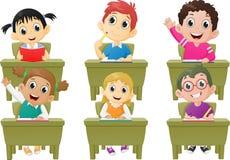 Lesson activities school children in classroom. Vector Illustration of lesson activities school children in classroom isolated on white Stock Photography