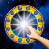 Lesson of astrology. Zodiac signs over starry space with a female hand like a concept for lesson of astrology vector illustration