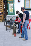 Lesson of blacksmithing skill Royalty Free Stock Photo