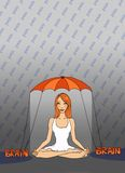 Lesson: Brain. Girl sitting in lotus position under umbrella. Illustration of a ginger girl with pain typography surrounding her Royalty Free Stock Images