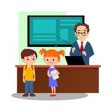 Lesson in classroom at school or college, teacher explains lesson near desk in front of students, Children stand and Stock Photos