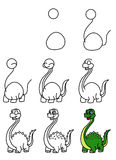 Lesson drawing Dinosaur Royalty Free Stock Photo