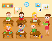 Lesson in elementary, primary school, kids and teacher in classroom. Lesson in elementary, primary school, kids studying and teacher teaching the class, cartoon royalty free illustration