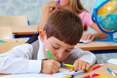 At the lesson.  Elementary school. Royalty Free Stock Image